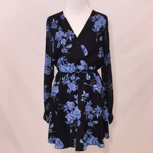 NWT Faux-Wrap Dress With Sheer Sleeves